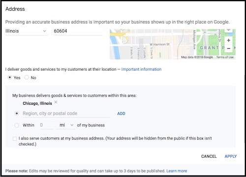 Google My Business service area settings